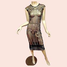 Vtg Layering 70's doing 20's  Deco look dress Gold sequins /Fringe Gatsby