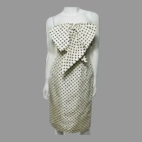 Vtg Bill Blass Couture Polka Dot Papillon Dress Circa 1970's Cream/ Black