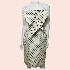 Vtg Bill Blass Couture Polka Dot Papillon Dress Circa 1970's Cream/ Black