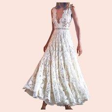 Lace Split Joint Deep V-Neck  Bohemian Maxi Dress White Stunner