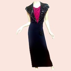 Antique 1920's Black & Red Maxi Bias dress Silk Crepe Red  drape Velvet sequins heavy embellished Collar