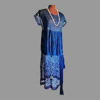 Antique 1920's  Jet beaded French  Lace Chiffon Flapper dress large beaded Buckle in Sash