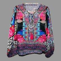 Sheer Vtg kaftan Embellished short Tunic Vibrant Colors Tassels
