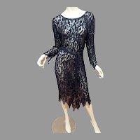 Vtg Silk Layering All Sequins Flapper dress Asymmetric pointed  Hem sash belt.