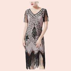 Vtg 1980 doing 1920's Art Deco Fringed Sequined Roaring 20's Black/Beige dress