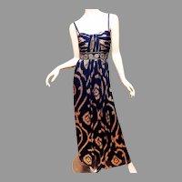 Vtg Oleg Cassini Gold Metallic Bandeau Formal Gown 4/6