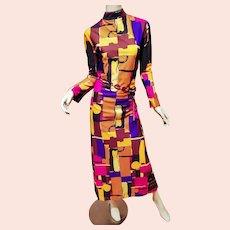 Vtg Abstract 1970's Maxi dress High Neck bold color Hong Kong Beauty