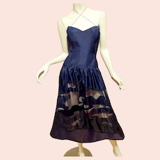 French Vtg Couture Paul Louis Orrier Evening Dress Silk Sequins beads see through design skirt