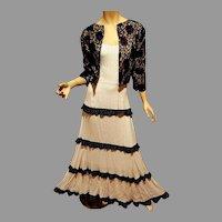 Vtg Tiered Ruffled Shabby Chic blk/wht polka dot adjustable straps maxi dress W/ vintage lace jacket