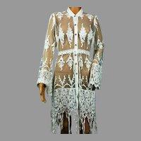 Vtg Lace Crochet Embroidered Kimono Duster Crochet Fringes Tie Waist Rhinestone Buttons