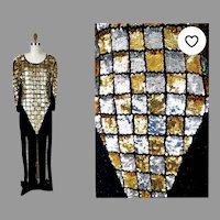 Vtg Sequins beaded Car wash maxi dress  checkers gold /silver silk