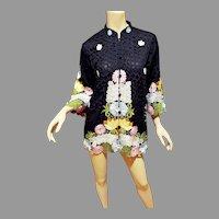 Vtg 1970 Caro of Honolulu Tunic Jacket floral cutout black open background
