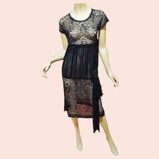 Antique 1920's Jet beaded French Lace Chiffon Flapper dress beaded buckle on Sash