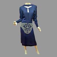 MGM Gilbert Adrian Original 1930's Couture Rare silk crepe Embellished dress Bib look