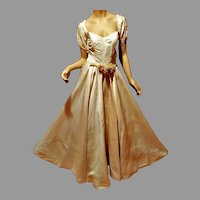 Vtg French Peau de Soie 1950's Wedding gown pearl danglers on puffed sleeves millinery flower Sash