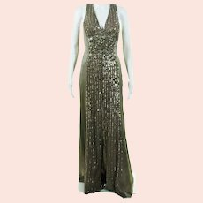 Versace Haute Couture Maastice Pewter  Sequins & Embellished  Silk gown Tags  $8,975