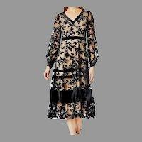 Vtg Illusion Flocked Midi Dress black/nude burnt lace design with bands close to hem