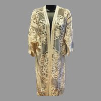 Vtg  lace on tulle Kimono Coat  over dress /open Detail Embroidery