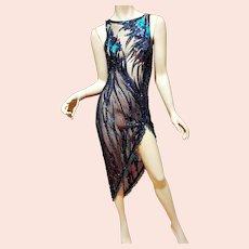 Vtg Layering sheer Body Con Dress w/beaded fringes Vamp