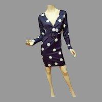 Vtg LBD Large Polka Dots Body Con dress with belt