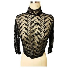 nch Ribbon Lace  1940's Jacket Top Victorian Vibes Bows w/clear beads high wired Collar