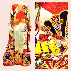 Antique Japanese Kimono Gold Embroidery amazing coloration from stone