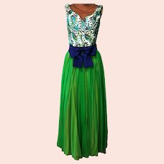 Vtg  Couture Chiffon Maxi Cocktail Gown Fluid Embroidered dreamy blue/green combo Kitten Bow