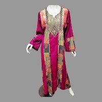 Vtg Middle eastern Gold Embellished Gems Sequins Robe Full Sleeves