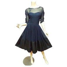 Vtg 1950 Ferman O'grady  organza/Voile & Taffeta Party dress Illusion Neckline beads & Sequins