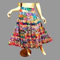 Vtg Neiman Marcus Original full skirt Floral cotton Voile striped