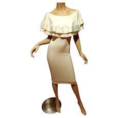 Vtg Frou Frou off shoulder white Body Con dress satin Ruffle trim