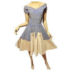 Vtg 1960's full circle dress blue/white raised stripe ribbon bodice special effect button on skirt