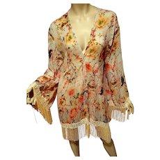Vt g Japanese Floral Bird of Paradise print motif 1920's inspired  with long fringes short kimono robe