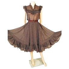 Vtg 1970's swiss dot brown voile ruffled midi circle tea dress