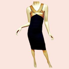 Vtg Black/Gold Sequins Body Con Dress Very Feminine & Sensual Knit