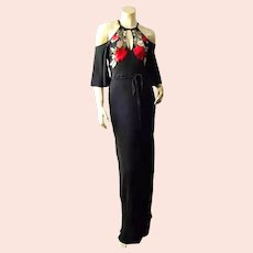 Vtg Rose embroidered  maxi cold shoulder gown w/belt thin pleat fabric