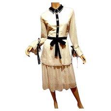 Vtg Swiss Dot Piquet Voile  Tiered white Pearl Shirt Dress Black Ribbons & trim