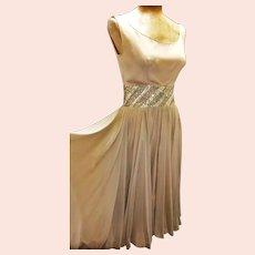 Vtg Silk Chiffon Golden beige Cocktail circle dress with wide Gold Embellished Sash Midriff