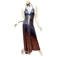 Vtg Maxi Gun Metal Liquid fabric Jeweled halter special gown