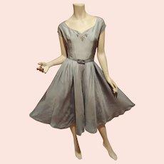 Vtg Blue Pure Silk Full sweep dress with belt Embellished bodice white Trim Metal zip side hidden pockets