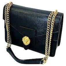 Vtg Anne Klein Iconic Gold Lion Head High Quality Handbag Gold Chain Straps  Saffiano Non Leather