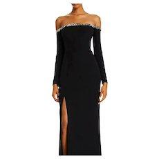 Vtg off shoulder collar embellished maxi dress Stunning