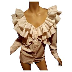 Vtg Anne Fontaine Paris, France Crisp Cotton Ruffled white button down shirt