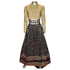 Vintage 1970 's Gold lurex Lame' Futura Couture Maxi gown Raised metallic Lame'