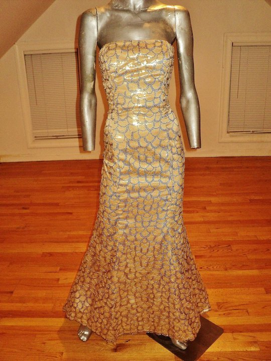 80d5317b4ca8 French Vintage designer Gold metallic mermaid gown fishtail sequin  embroidery on voile