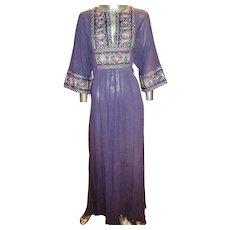 Vintage 1970's Purple  Hindustani embroidered caftan robe kimono boho chic