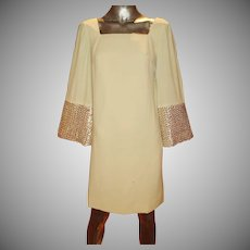 Vintage 1950's trapeze mod embellished dress embroidered gold & pearl sequins bell sleeves metal zipper