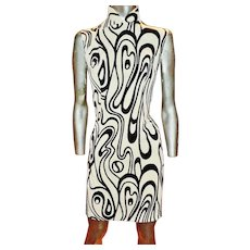 Vintage Cheongsam Chipao silk screen swirl painted mod design all silk lined couture finish