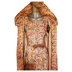 Vintage 1950's Futura Couture Opera 3 piece ensemble Coat Dress & skirt all fully embroidered organza fabric belt