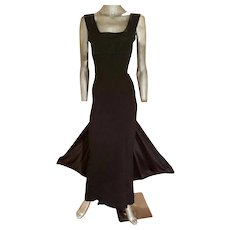 Vintage Jean Paul Gaultier Classique Couture runway silk bias gown train & wings